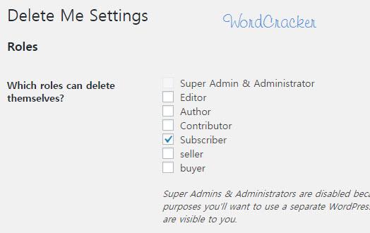 Delete Me settings - Roles