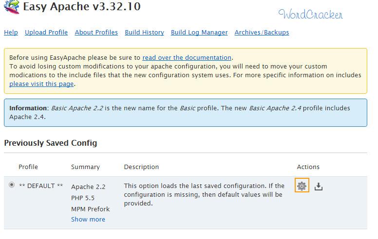 Easy Apache v3  -  Bluehost PHPのバージョンを変更する