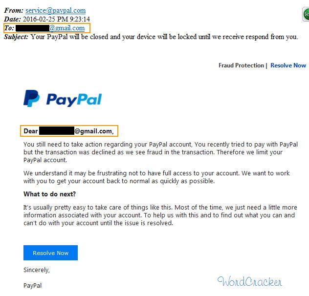 페이팔 피싱 이메일(사기 이메일)