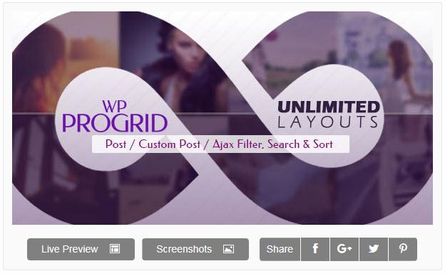 Pro Grid WordPress plugin  -  [WordPress]ポスト/カスタムポストをポートフォリオ形式で表示してくれるPro Grid