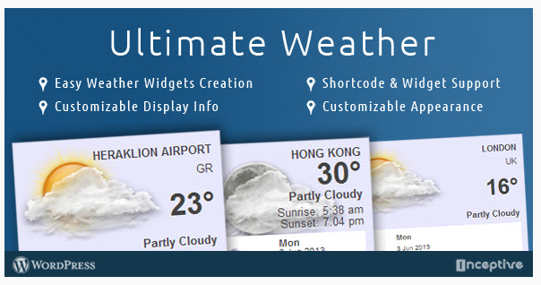 Ultimate Weather WordPress Plugin - 워드프레스 날씨 플러그인