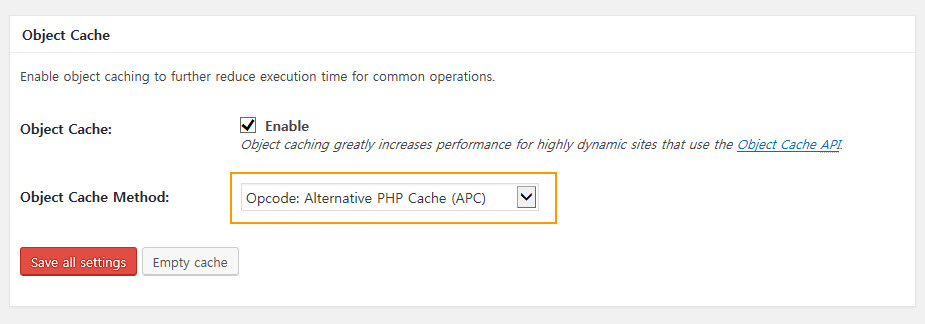 W3 Total Cache - Object Cache Settings