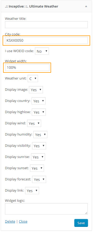 Weather Widget in WordPress