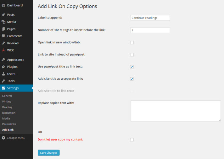 """Add Link to Copied Text"" plugin for WordPress"