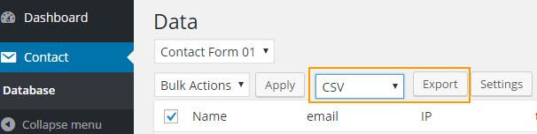 Contact Form 7 Export