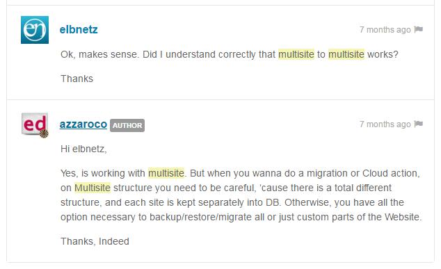 Multisite migration