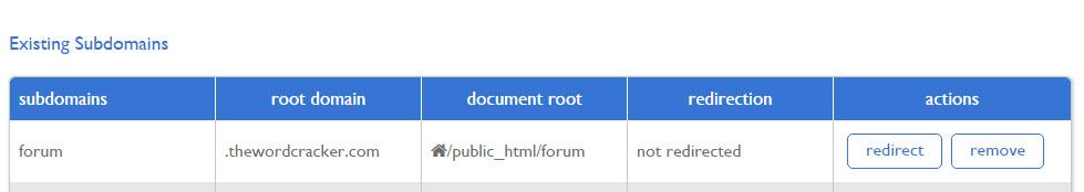 New subdomains