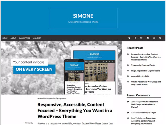 Simone WordPress Free Theme