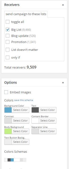Newsletter options