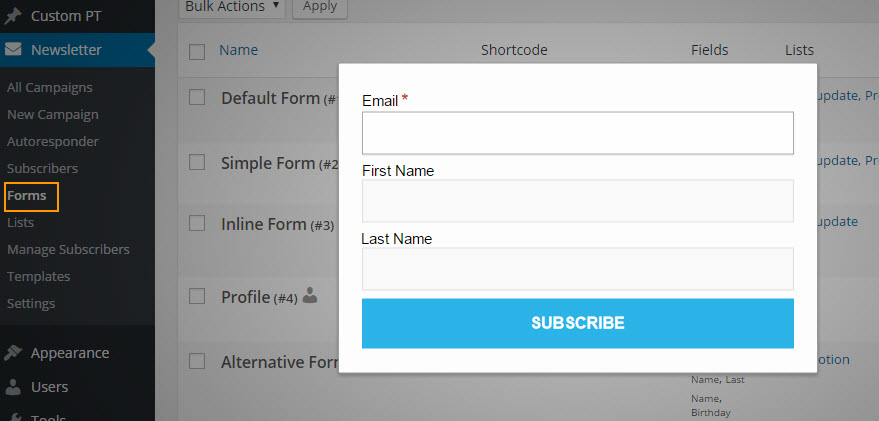 Subscriptions Form
