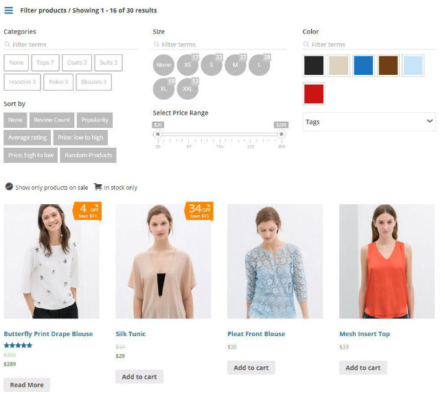WooCommerce Product Filter Example