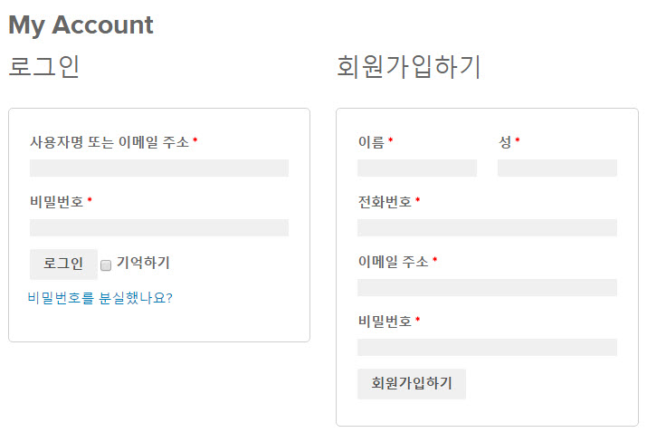 My Account Registration Form Customized