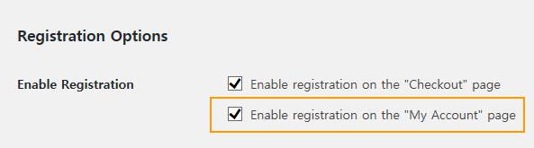 Registration Options in WooCommerce