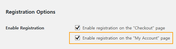 Registration Options in WooCommerce