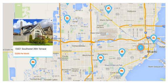 매물 마커가 표시된 구글 지도