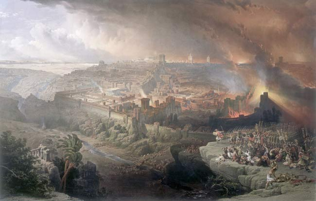 エルサレム包囲の滅亡(The Siege and Destruction of Jerusalem)、David Roberts(1850)。 Photo by Wikipedia