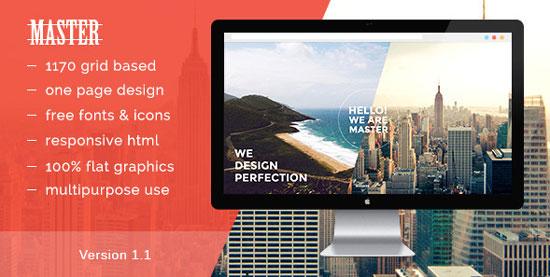 [이 달의 무료 다운로드] Master – 원페이지 HTML 5 포트폴리오 템플릿