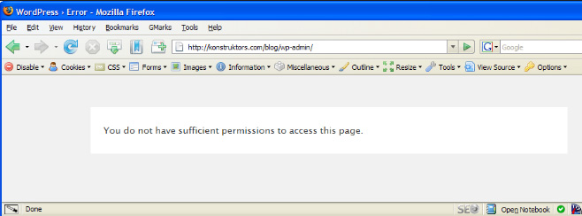 [워드프레스] '이 페이지에 접근할 권한이 없습니다' 오류가 발생하는 경우