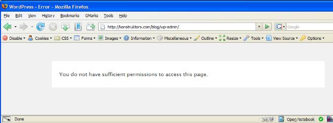 이 페이지에 접근할 권한이 없습니다 오류