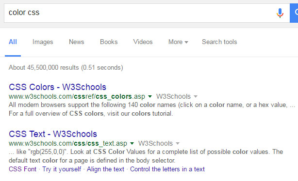 color-css-search-in-google