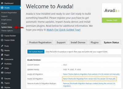 Rerun Shortcode Conversion in Avada