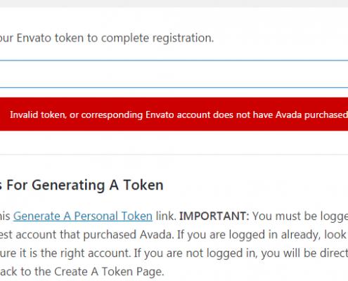 Invalid token in Avada