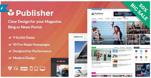 [워드프레스] 새로운 매거진, 블로그, 신문용 테마 – Publisher