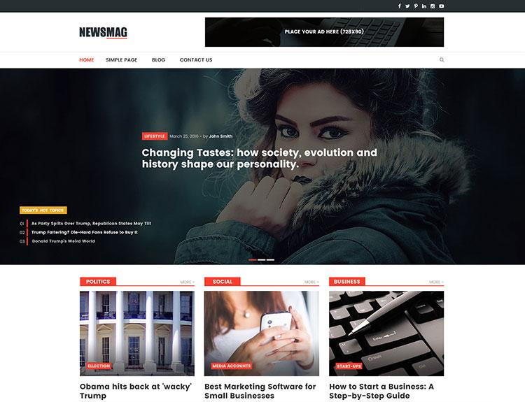 Newsmag 라이트 버전 - 워드프레스 매거진 테마