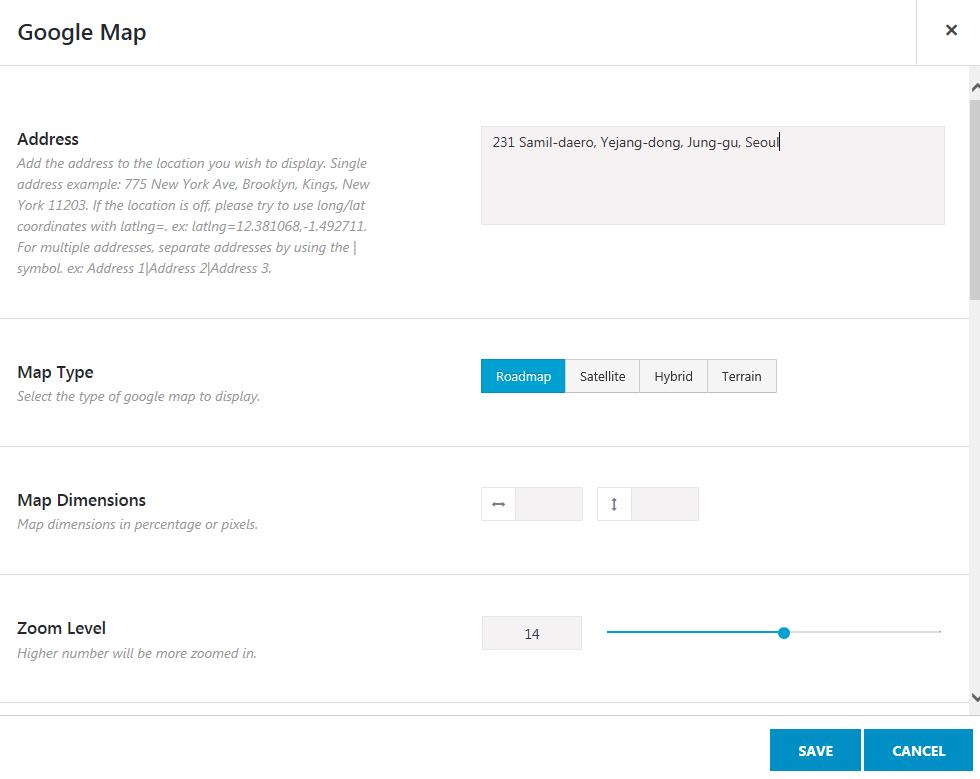 아바다 워드프레스 테마에 구글 지도 Google Map 삽입
