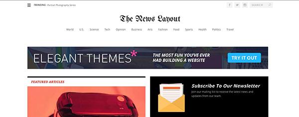 [워드프레스] Elegant Themes의 Extra용 무료 뉴스페이퍼 스타일 카테고리 레이아웃 팩