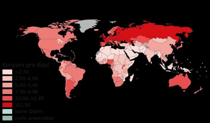 世界のアルコール消費量の地図
