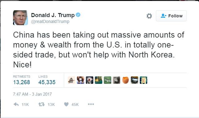 트럼프 중국 트윗