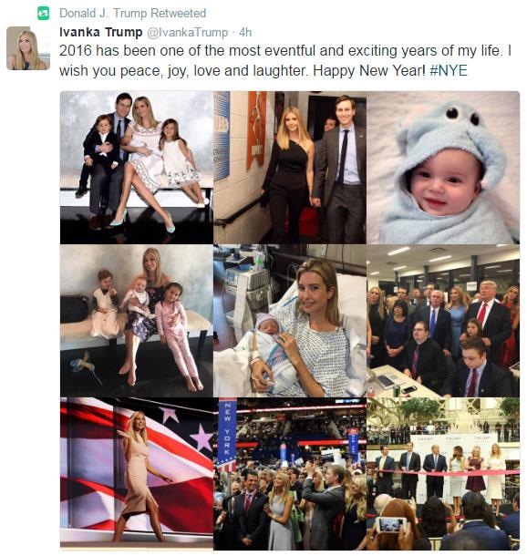 이반카 트럼프의 새해 인사말 트윗