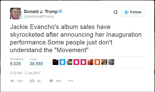 취임식 축하 공연 가수의 앨범 판매량이 급등하고 있다고 자랑하는 트럼프