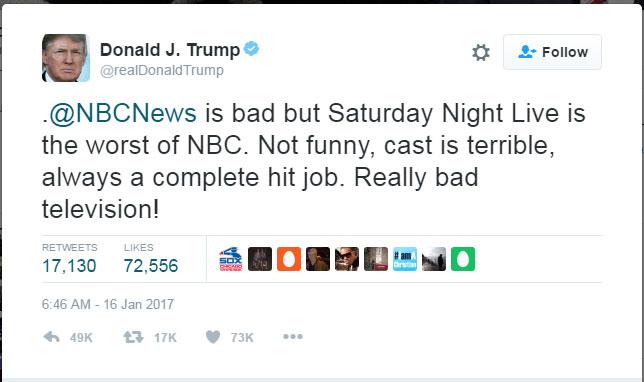 트럼프, 'SNL은 재미 없고 최악 프로그램'
