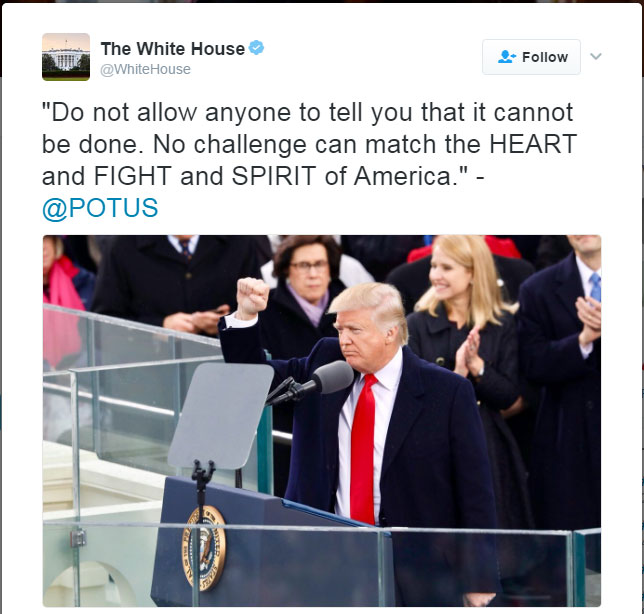 '불가능하다고 하지 마십시오' – 트럼프 대통령 취임 연설