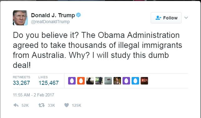 호주와의 난민 교환 협정을 비난하는 트럼프