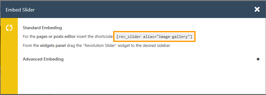 Revolution Sliderショートコード