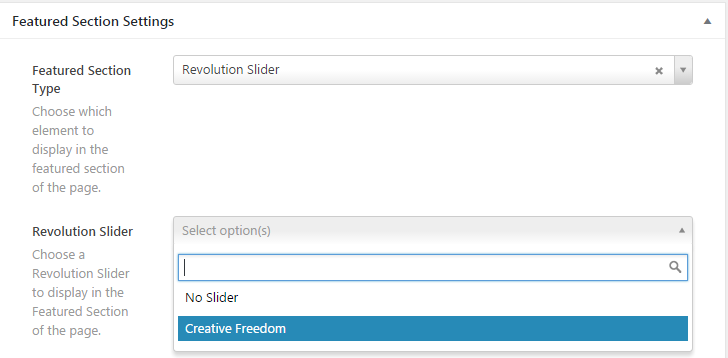 Slider Revolution 選択