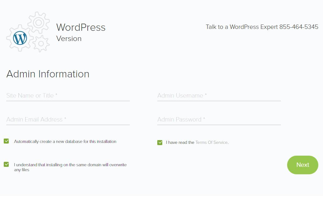 WordPress 管理者情報を入力する