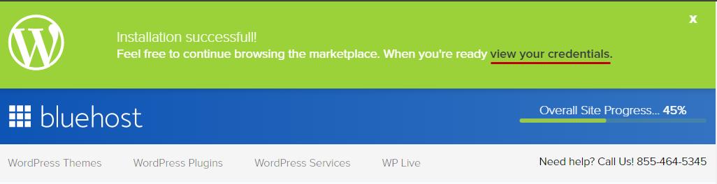 WordPress インストールに成功