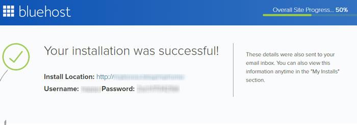 Bluehost WordPress インストールに成功