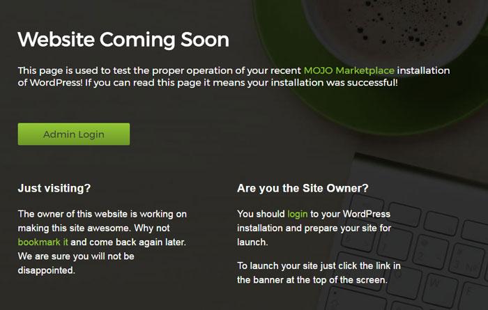 Bluehost WordPress インストールが完了し -  Coming Soon