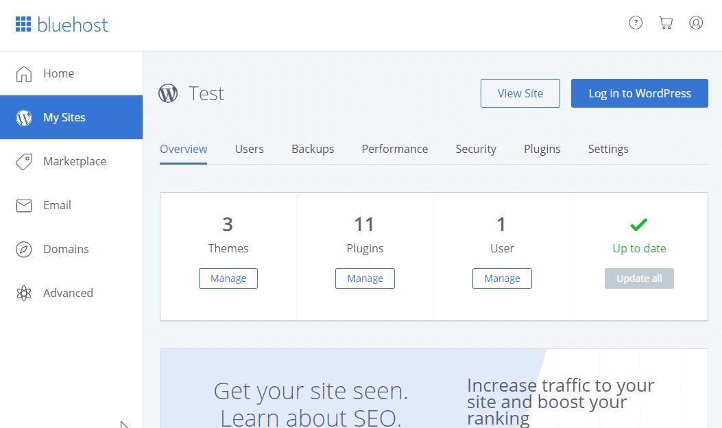 海外ホスティング Bluehost サイトの管理