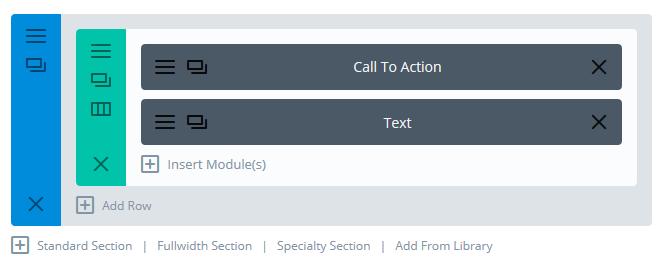 セクションページモジュールに他のモジュールを追加する