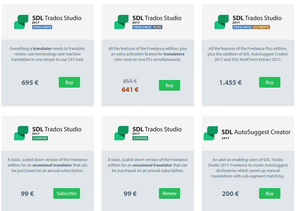 4월 30일까지 SDL Trados Studio 2017 Freelance Plus 25% 할인
