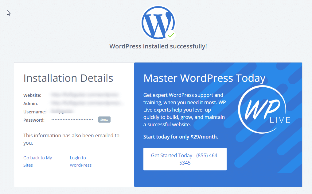WordPress インストール - 海外ホスティング Bluehost