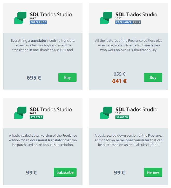 SDL Trados Studio価格