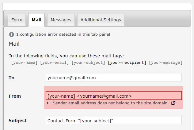 'Sender email address does not belong to the site domain' 오류 메시지가 표시되는 경우