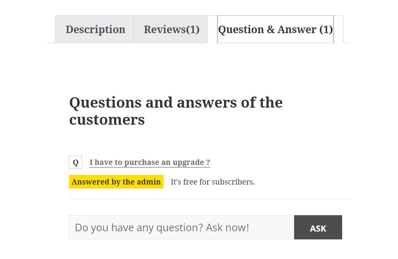 YITH WooCommerce Q&A(質問と回答)プラグイン4